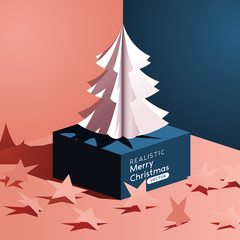 realistic Vector Paper Christmas Tree Design