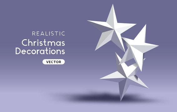 3D effect realistic Christmas star decorations.