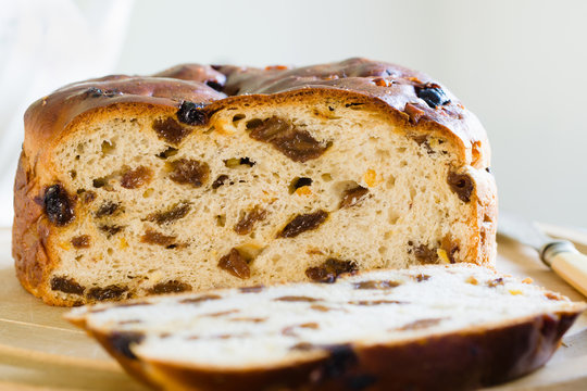 Barmbrack or bairin breac a traditional Irish fruit loaf