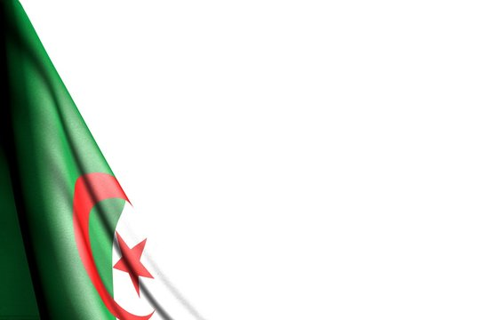cute national holiday flag 3d illustration. - isolated picture of Algeria flag hanging diagonal - mockup on white with space for text