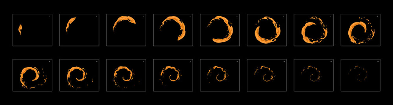 dust ring loop effect sprite sheet or animation frames. frame by frame classic animation for cartoon, mobile games, motion graphic or animation.