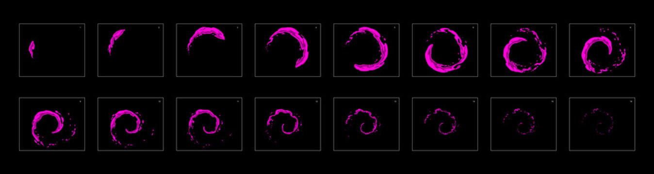 poison ring loop effect sprite sheet or animation frames. frame by frame classic animation for cartoon, mobile games, motion graphic or animation.