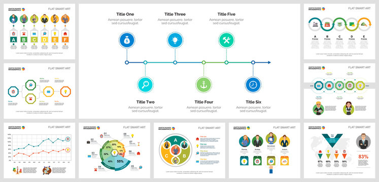 Colorful partnership or planning concept infographic charts set. Business design elements for presentation slide templates. Can be used for financial report, workflow layout and brochure design.