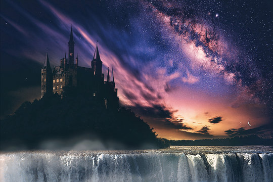 Abstract digital illustration of a castle in fantasy land