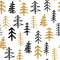 Pine tree seamless pattern. New Year and Christmas background, vector Illustration