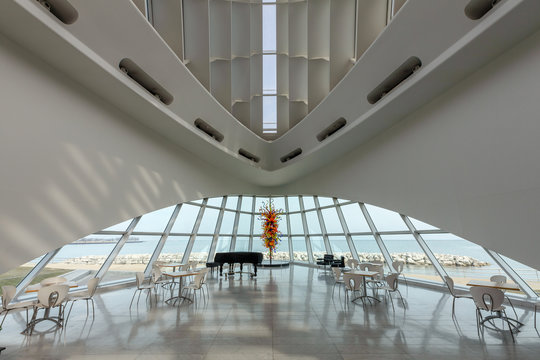 Dramatic view of the interior of the Milwaukee Art Museum on April 11, 2018 in Milwaukee, Wisconsin