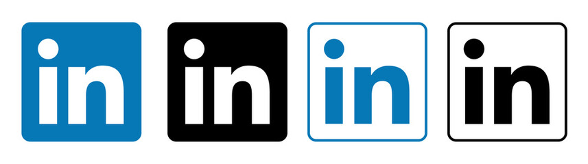 linkedin Set of social media logos.
