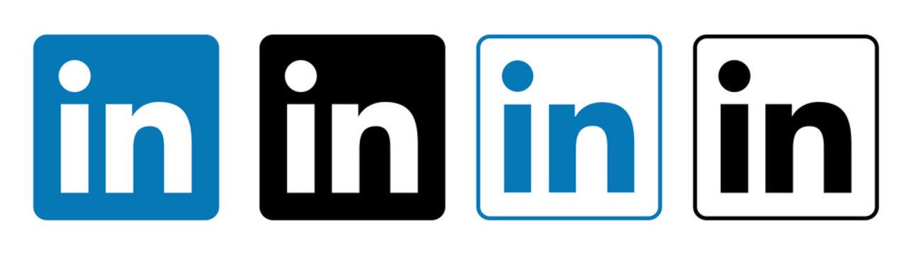 linkedin Set of social media logos.