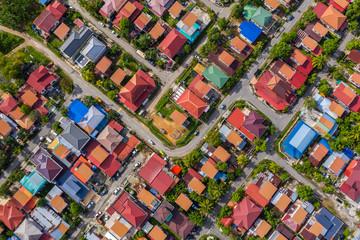 Bird eyes view of local housing houses in Kota Kinabalu, Sabah, Malaysia