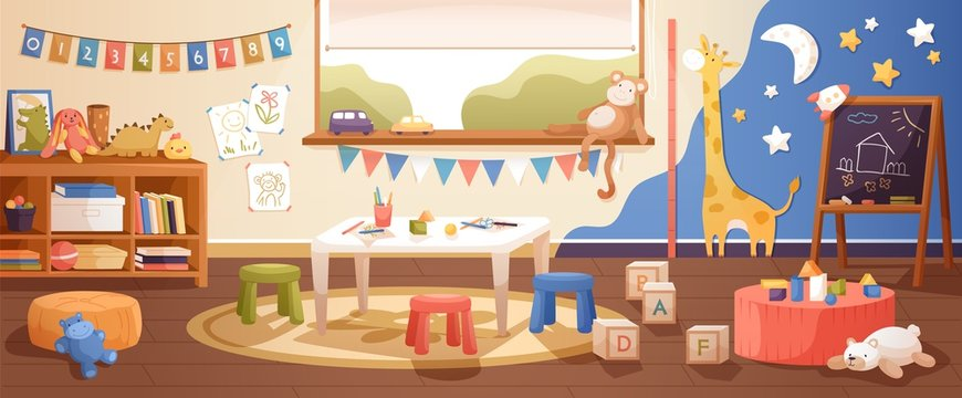 Kindergarten room interior flat vector illustration. Cozy playroom with cute children paintings on wall, furniture and toys. Nursery school environment for teaching kids and playing games.