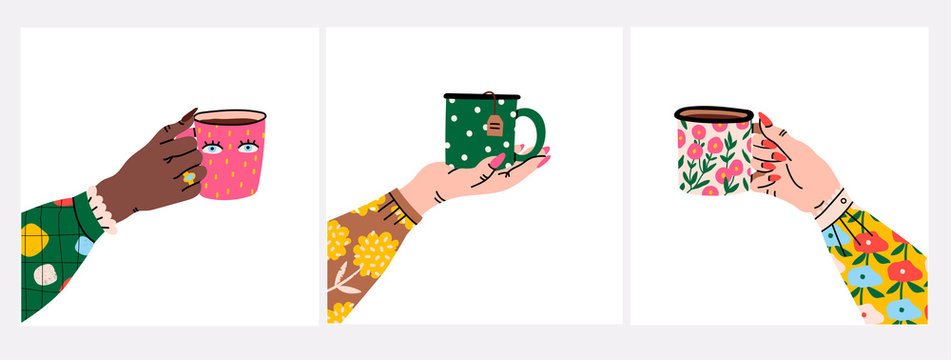 Female hands holding cups or mugs with tea. Side view. Flower prints on sleeve and cups. Set of three hand drawn colored trendy vector illustrations. Cartoon style. Flat design.