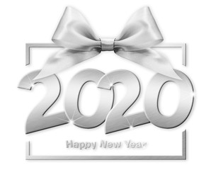 2020 happy new year number text in box frame with silver ribbon bow isolated on white background