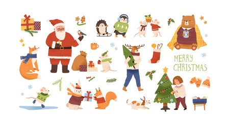 Christmas celebration vector illustrations set. Cute animals with New Year gifts isolated characters. Santa Claus, girl decorating christmas tree. Traditional winter holiday symbols bundle.