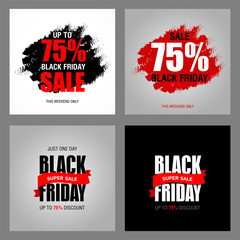 Black Friday sale inscription best design template set. Black Friday advertising banner vector illustration