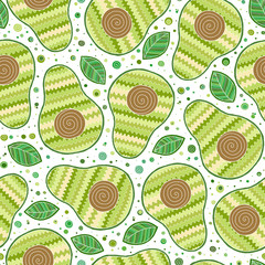 Seamless avocado pattern, avocado slices, leaves on white background.