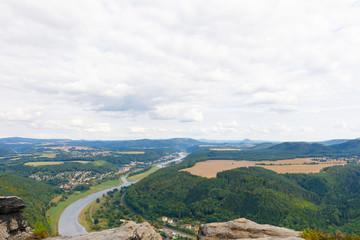 view from mountain lilienstein to bad schandau, saxon switzerland