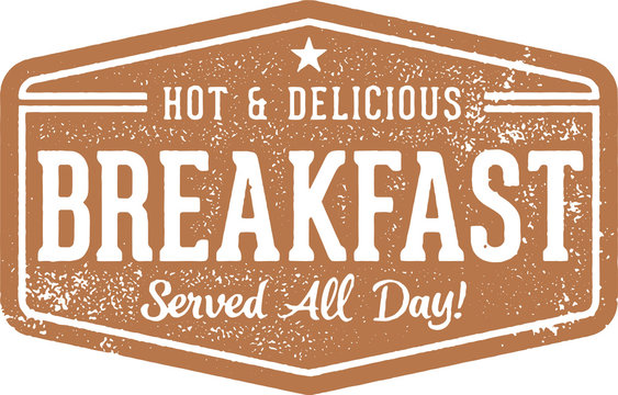Breakfast All Day Stamp for Restaurant Menu Design