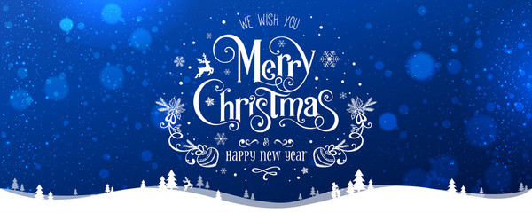Fototapete - Merry Christmas and New Year text on blue background with winter landscape with snowflakes, light, stars. Xmas card. Vector Illustration, holiday