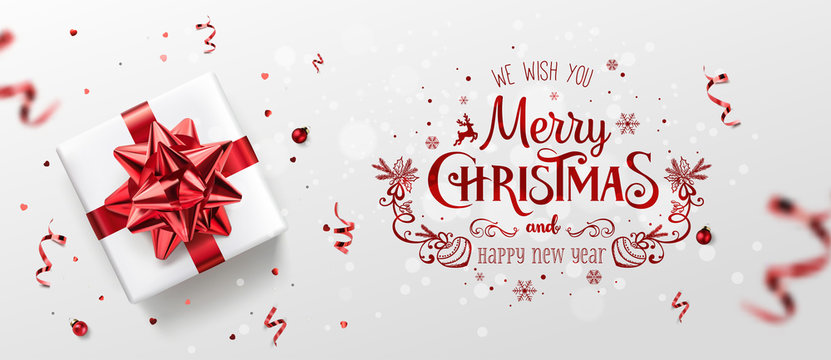 Red Christmas and New Year Text on Xmas background with gift boxes, fir branches, red ribbon, decoration, sparkles, confetti, bokeh. Merry Christmas card. Vector Illustration, realistic vector
