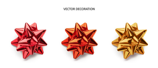 Set of bows pink, red and gold color metallic with shadow on isolated white background. Realistic vector decoration for holiday