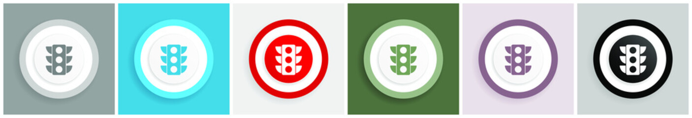 Fotomurales - Traffic lights icon set, colorful flat design vector illustrations in 6 options for web design and mobile applications