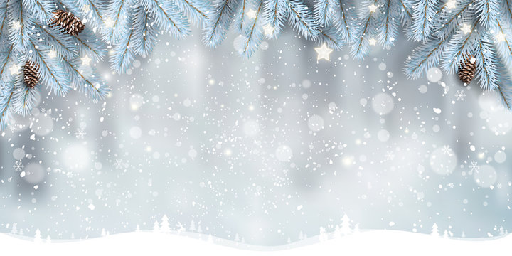 Winter Christmas background with landscape, snowflakes, light, stars. Xmas and New Year card. Vector Illustration