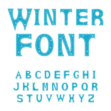 Alphabet letters. Font for winter alphabet decorated with snowflakes