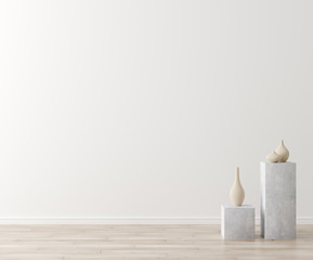Empty home interior wall mock-up,Scandinavian style, 3d render
