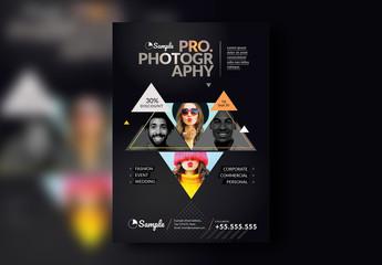 Black Portfolio Poster Layout with Triangle Masks