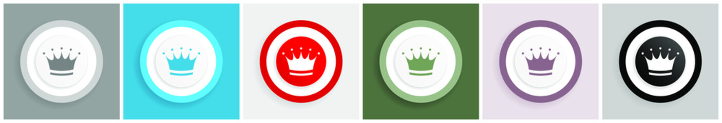 Crown icon set, colorful flat design vector illustrations in 6 options for web design and mobile applications Fototapete