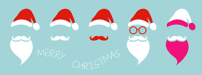 Santa Claus fashion hipster style set icons. Santa hats, moustache and beards, glasses. Christmas elements for your festive design. Vector illustration isolated on blue background  Wall mural