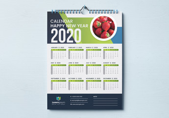 One Page Wall Calendar Layout with Blue and Green Geometric Elements
