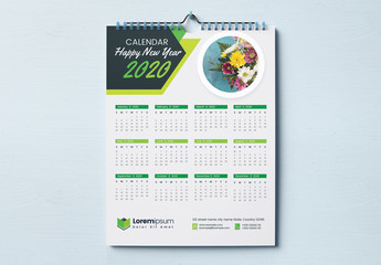 One Page Wall Calendar Layout with Green Geometric Elements