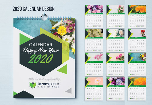Wall Calendar Layout with Green Geometric Elements