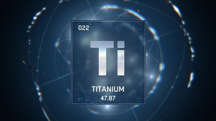 3D illustration of Titanium as Element 22 of the Periodic Table. Blue illuminated atom design background with orbiting electrons. Design shows name, atomic weight and element number