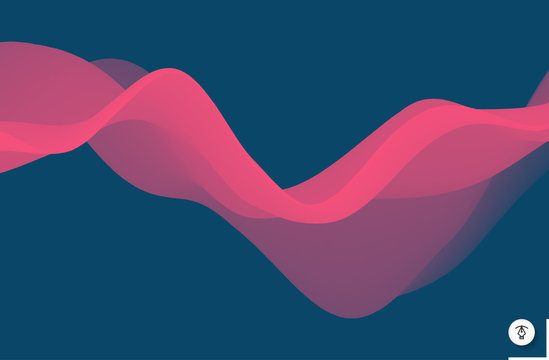 Abstract wavy background with modern gradient colors. Trendy liquid design. Motion sound wave. Vector illustration for banners, flyers and presentation.