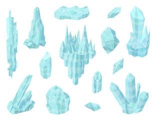 Cartoon Color Pieces of Ice Set. Vector