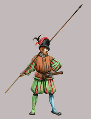 Landsknecht with pike. Medieval soldier illustration. Medieval battle.
