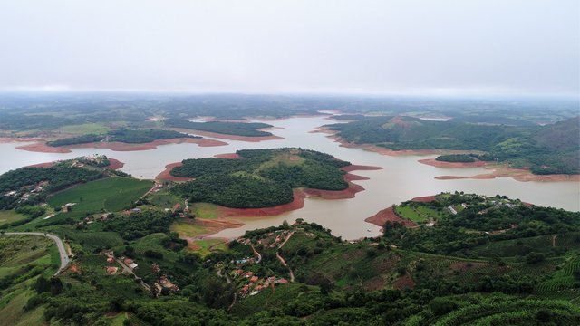 aerial photograph of the Graminha dam at the time of water scarcity in the municipality of caconde state of sao paulo