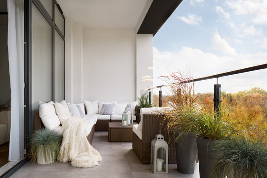 Elegant decorated balcony with rattan outdoor furniture, bright pillows and plants