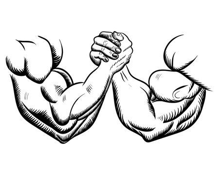 Arm wrestling fight combat. Victory sketch, figure image. vector illustration black on white