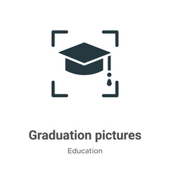 Graduation pictures vector icon on white background. Flat vector graduation pictures icon symbol sign from modern education collection for mobile concept and web apps design.