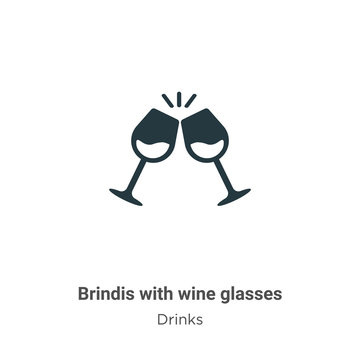 Brindis with wine glasses vector icon on white background. Flat vector brindis with wine glasses icon symbol sign from modern drinks collection for mobile concept and web apps design.