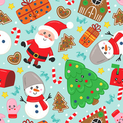 seamless pattern with cute Christmas characters and other elements   - vector illustration, eps