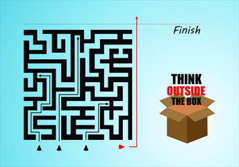 think outside the box. do not follow the rules of others. make your own path. choose the easiest way. EPS 10 vector which represents a maze and a box to the right with black and red colours. wallpaper