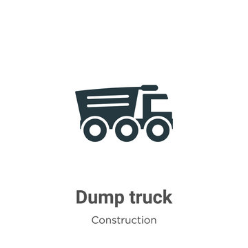 Dump truck vector icon on white background. Flat vector dump truck icon symbol sign from modern construction collection for mobile concept and web apps design.