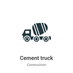 Cement truck vector icon on white background. Flat vector cement truck icon symbol sign from modern construction collection for mobile concept and web apps design.