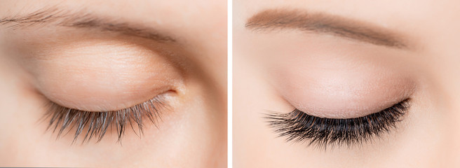 Eyelash extensionl procedure before and after. Beautiful woman with long lash in beauty salon