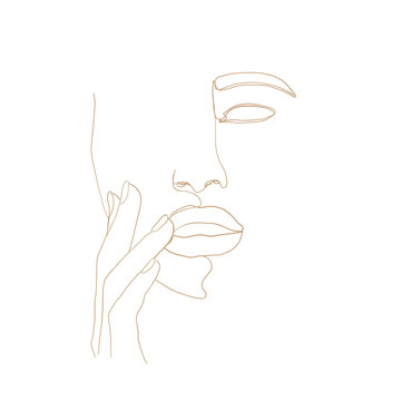 Continuous line, drawing of woman face with hand on face , fashion concept, woman beauty minimalist, vector illustration for t-shirt, slogan design print graphics style. One line fashion illustration
