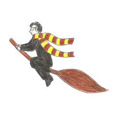 Harry Potter is flying on a broomstick. Watercolor's pencils and liner hand drawn illustration